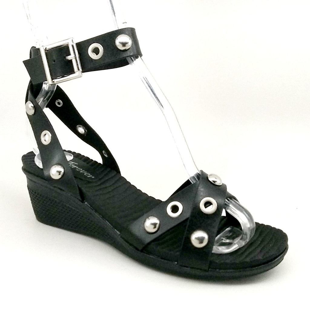 Women's Black Rubber Wedge Sandal with Ankle Strap