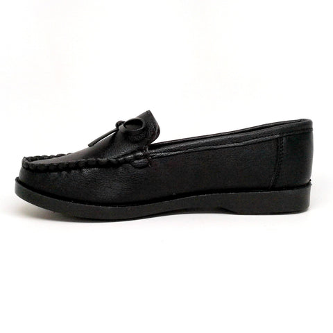 Women's Black Color Faux Leather Loafer with Bow