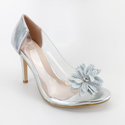 """Royal"" Silver/Clear Heels"