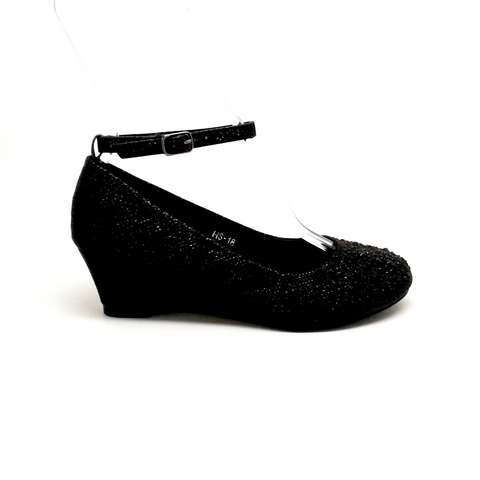 Black Color Wedge with Rhinestones