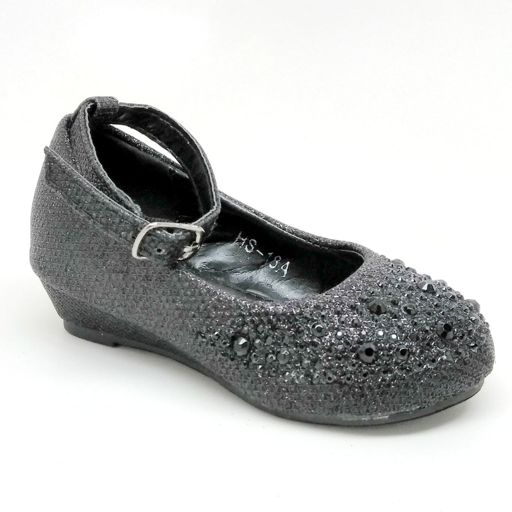 Toddlers Black Color Wedge with Rhinestones and Buckle Strap