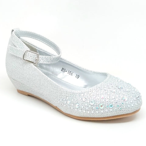 Girl's Silver Color Wedge with Rhinestones