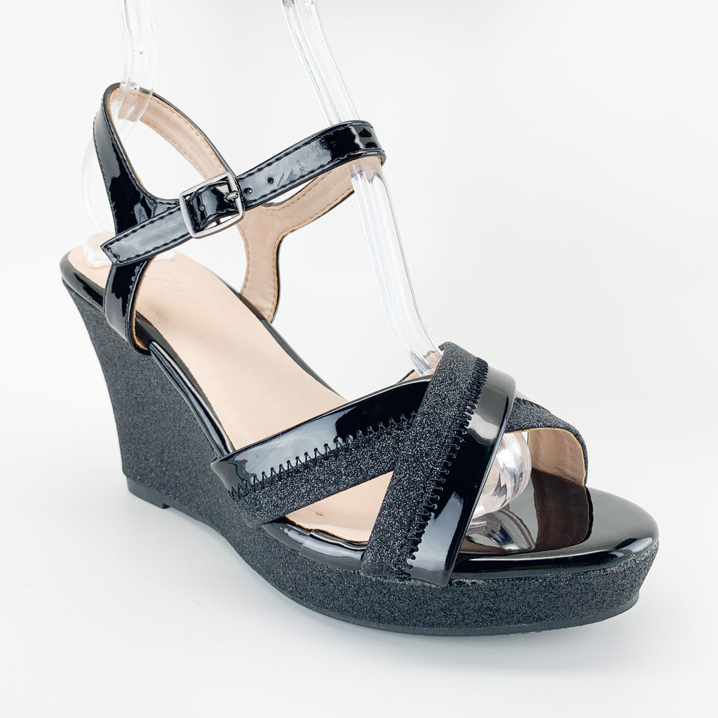 forever link happy-01 black glitter wedge