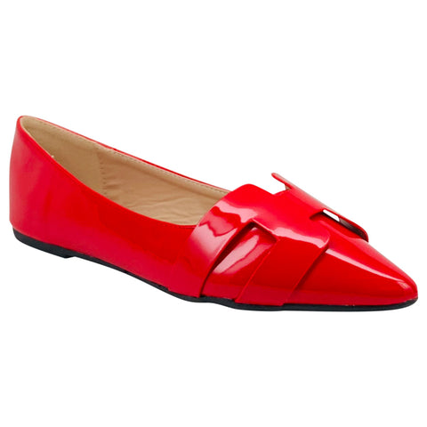 red shiny pointed flat pippa-410 wild diva