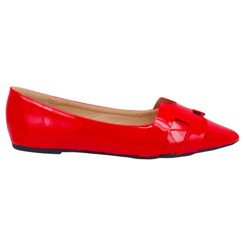Courtney Pointed Toe Flats (Black,Red,Nude)