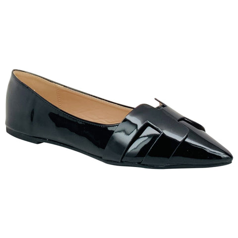 black shiny pointed flat pippa-410 wild diva