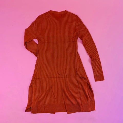 """Fall Love"" Knee-Length Cardigan (Oatmeal,Rust)"