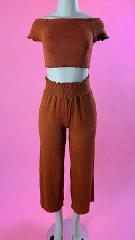 6374pk lovetree rust high waist pants