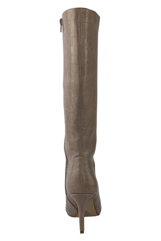 Tania Croco Embossed Dress Boot (Taupe)