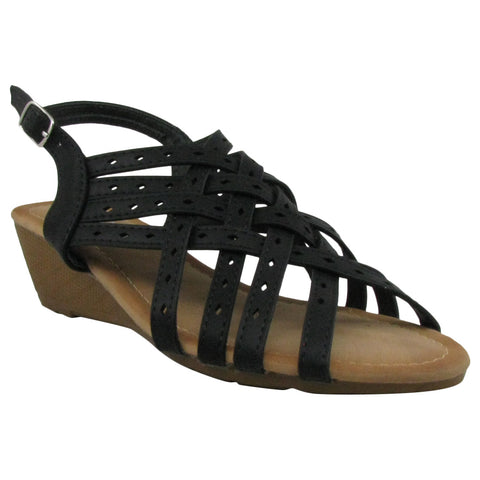 black strappy wedge sandals laser-35 forever comfort