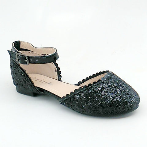 Girl's Black Glitter Open Flat with Ankle Strap