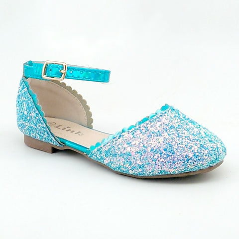Girl's Blue Glitter Open Flat with Ankle Strap