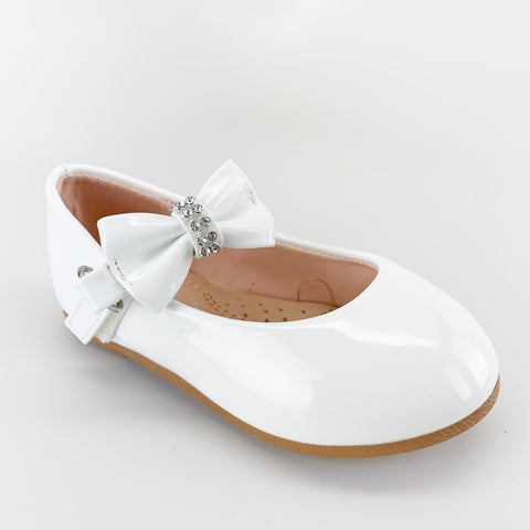 """Gloria"" White Pat Girl Flats with Bow"