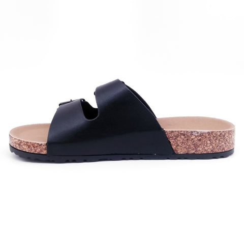 Marisol Woman Slide Sandals (Black)