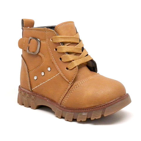 Toddler Boy Camel Color Boots with Laces