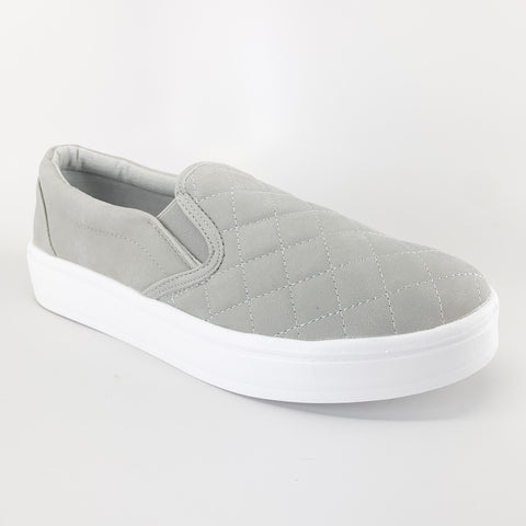 navig8 j mark daily-07 grey quilted slip on sneakers