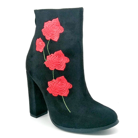 Women's Black Velvet Short Boots with Rose Embroidery Detail