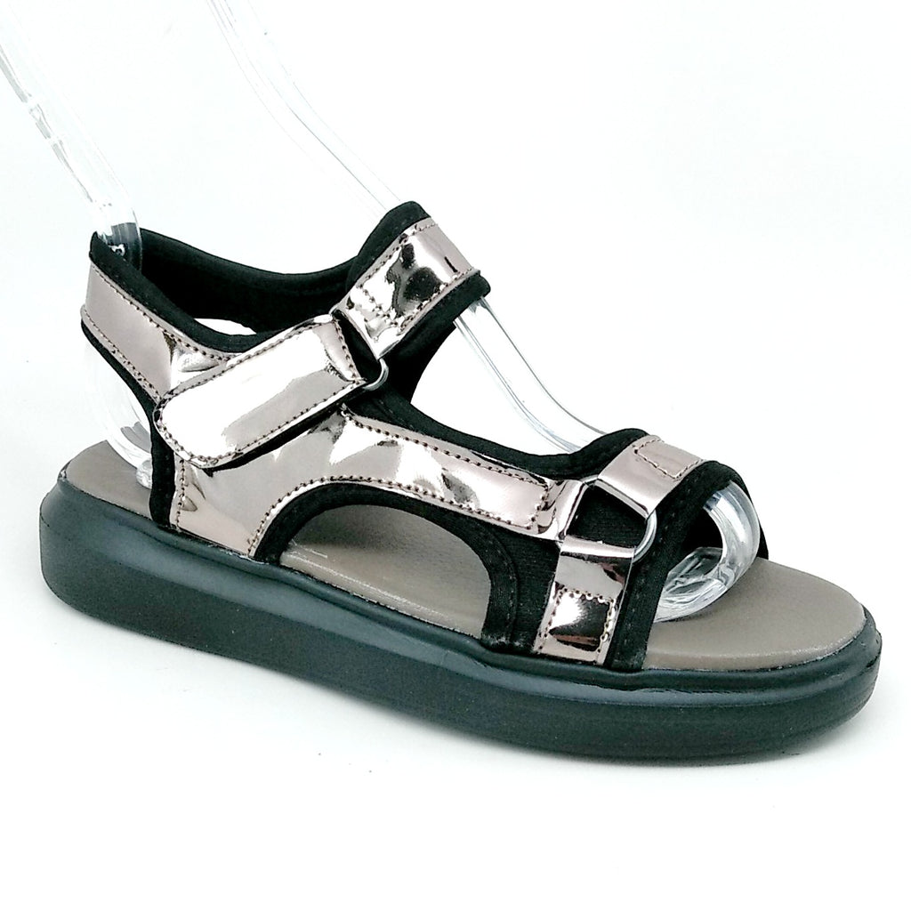 Women's Pewter Sport Sandal with Hook and Loop Strap