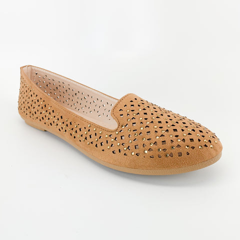 forever link supple-84 tan flat loafers