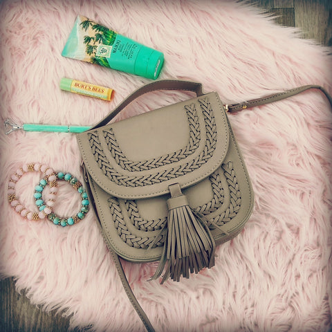 """Whip"" Crossbody Bag (Taupe)"