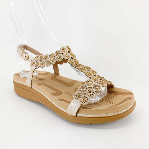 """Tracy"" Champagne Comfort Sandals"
