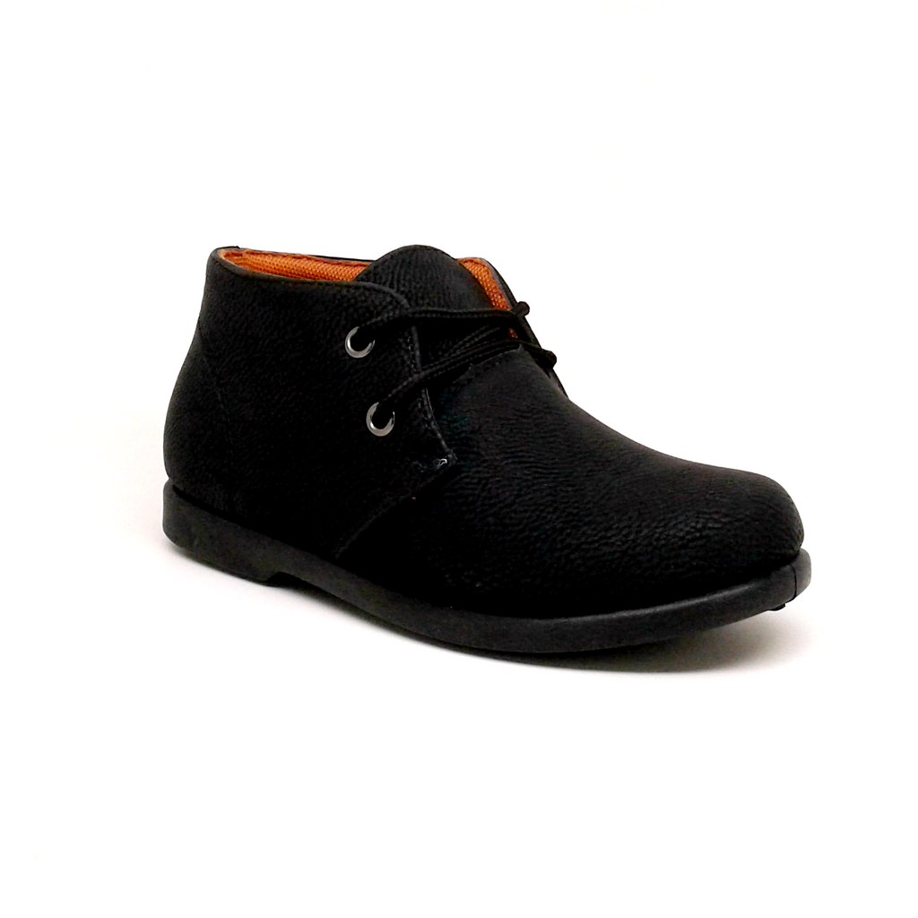 Boy's Black Faux Leather Lace Up Casual Shoes