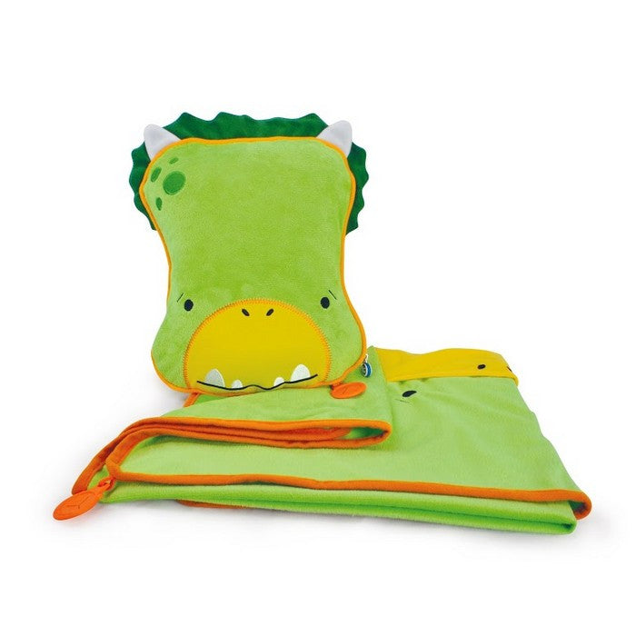 SnooziHedz Travel Pal, Pillow & Blanket - Dudley the Dino