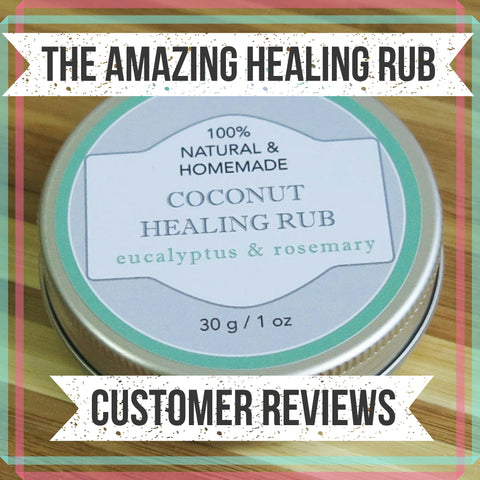 Healing Rub with Eucalyptus and Rosemary Essential Oils for bug bites, skin inflammation, headaches, car sickness, stuffy nose