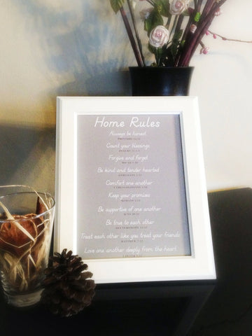 Biblical Home Rules in White Wooden Frame