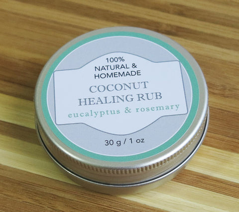 100% Natural and Homemade Coconut Oil Healing Rub with Rosemary and Eucalyptus Essential Oils