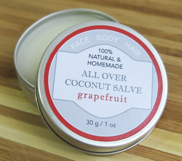 100% Natural and Homemade All Over Coconut Salve for Body, Face, Hair with Grapefruit Essential Oil