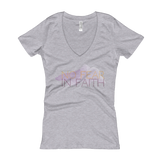 """No Fear in Faith"" Women's Light V-Neck T-shirt"