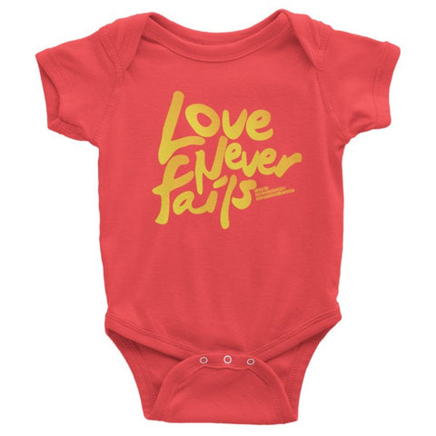 LOVE NEVER FAILS Infant Organic Short Sleeve One-Piece