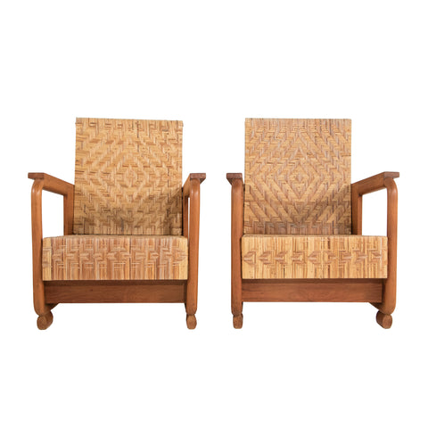 #148 Pair of Lounge Chairs With Woven Cane