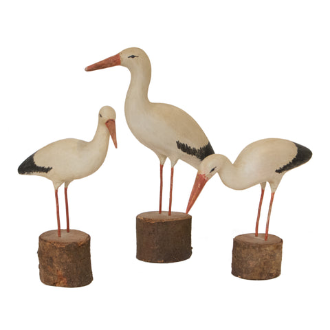 #158 Three Wooden Storks