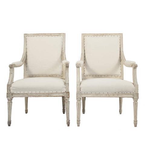#1668 Pair of Gustavian Armchairs