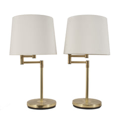 #1682 Pair of Adjustable Brass Table Lamps