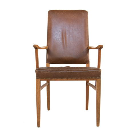 #183 Leather Arm Chair by Carl Malmsten