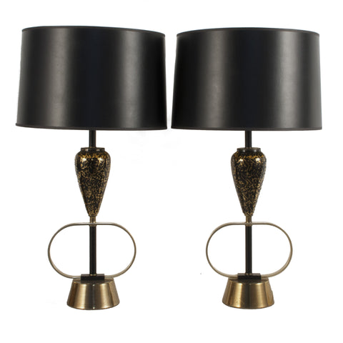#2163 Pair of Metal and Glass Table Lamps