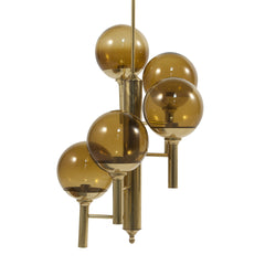 #285 Brass and Glass Chandelier