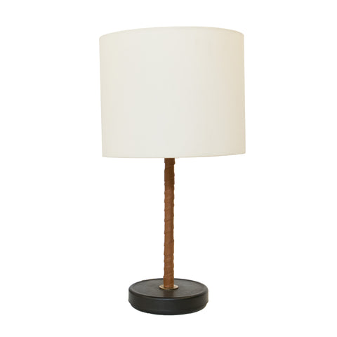 #298 Table Lamp Wrapped in Leather by Orno
