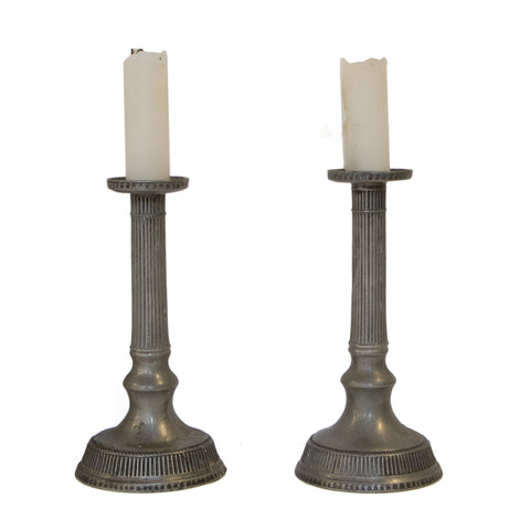 #319 Pair of Gustavian Pewter Candleholders