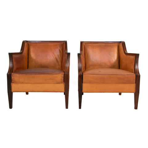 #321 Pair of Leather Club Chairs by Ernst Kuhn
