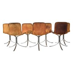 #38 Set of 12 Leather Dining Chairs in Rosewood by Niels Moller