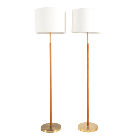 #466 Pair of Brass and Leather floor lamps