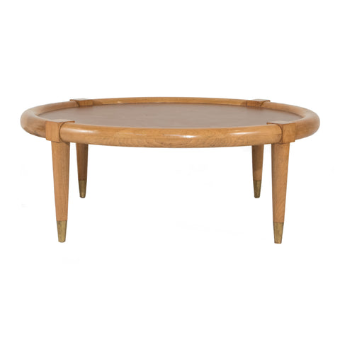 #512 Coffee Table in Nut Wood and Leather by Terence Harold Robsjohn-Gibbings