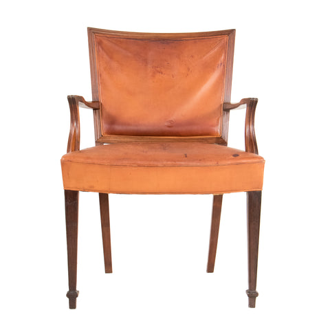 #577 Armchair with Leather by Ernst Kuhn