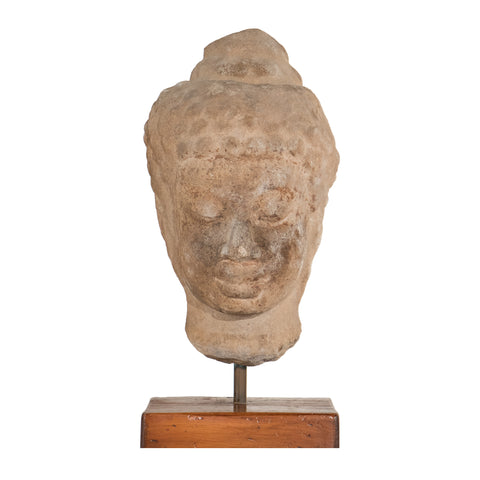 #669 Buddha Head in Sandstone from Thailand