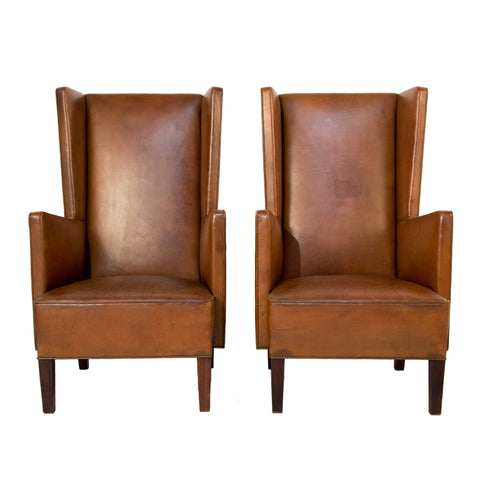 #677 Pair of Wingback Leather Chairs by Ernst Kuhn