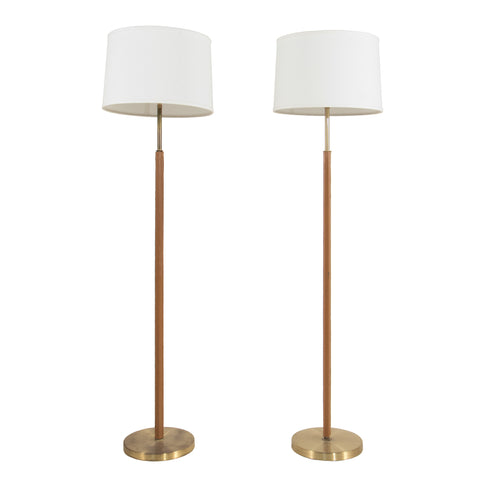 #759 Pair of Floor Lamps in Brass and Leather